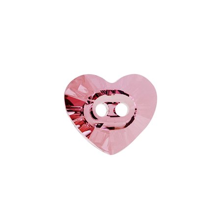 Swarovski Crystal   3023 Heart Sew On Stone Buttons 14X12mm  1 Piece  Crystal Antique Pink