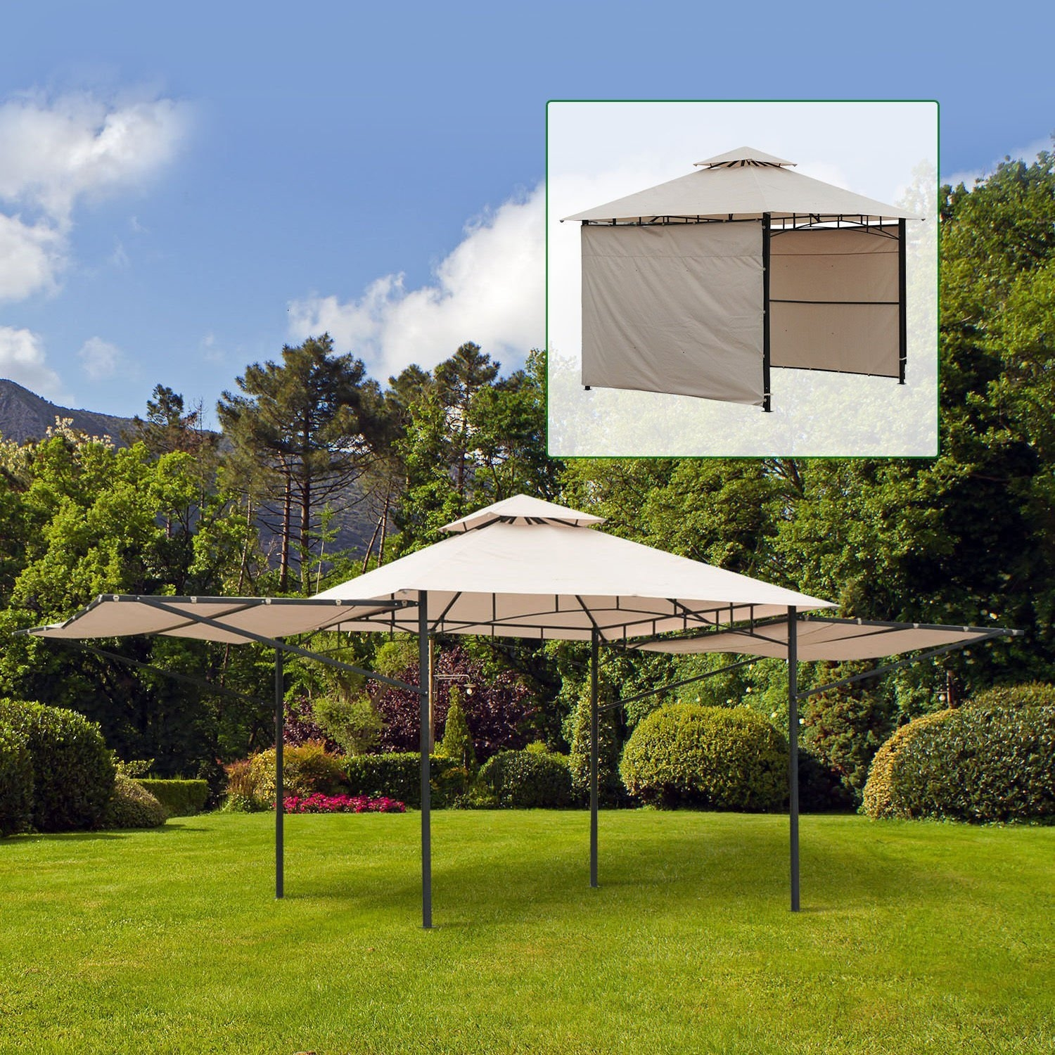 New MTN-G10'x10' Patio Gazebo Outdoor Garden Canopy Tent Sun Shade Shelter w  Extension by MTN Gearsmith