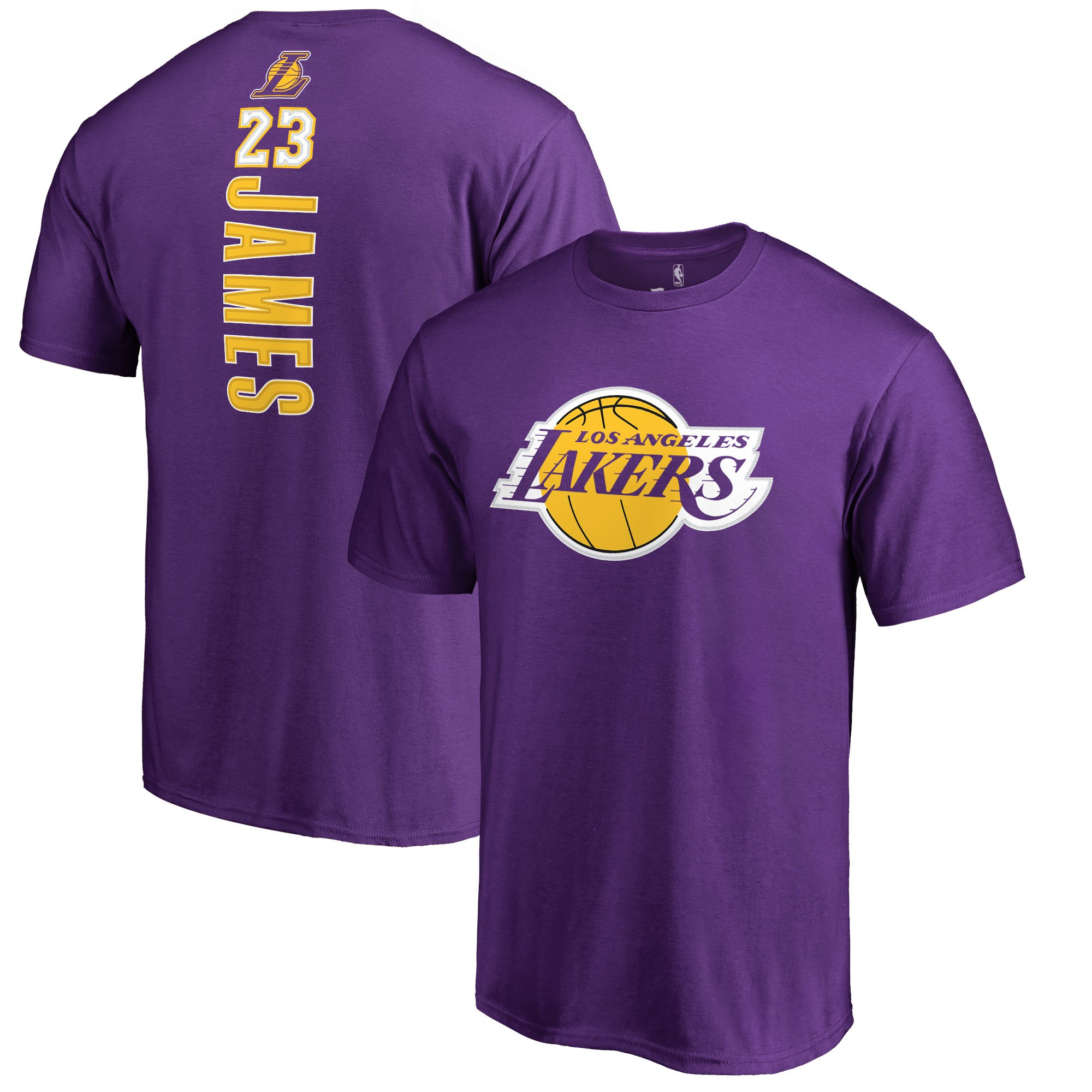 timeless design 32a30 4f1c5 LeBron James Los Angeles Lakers Fanatics Branded Backer Name & Number  T-Shirt - Purple