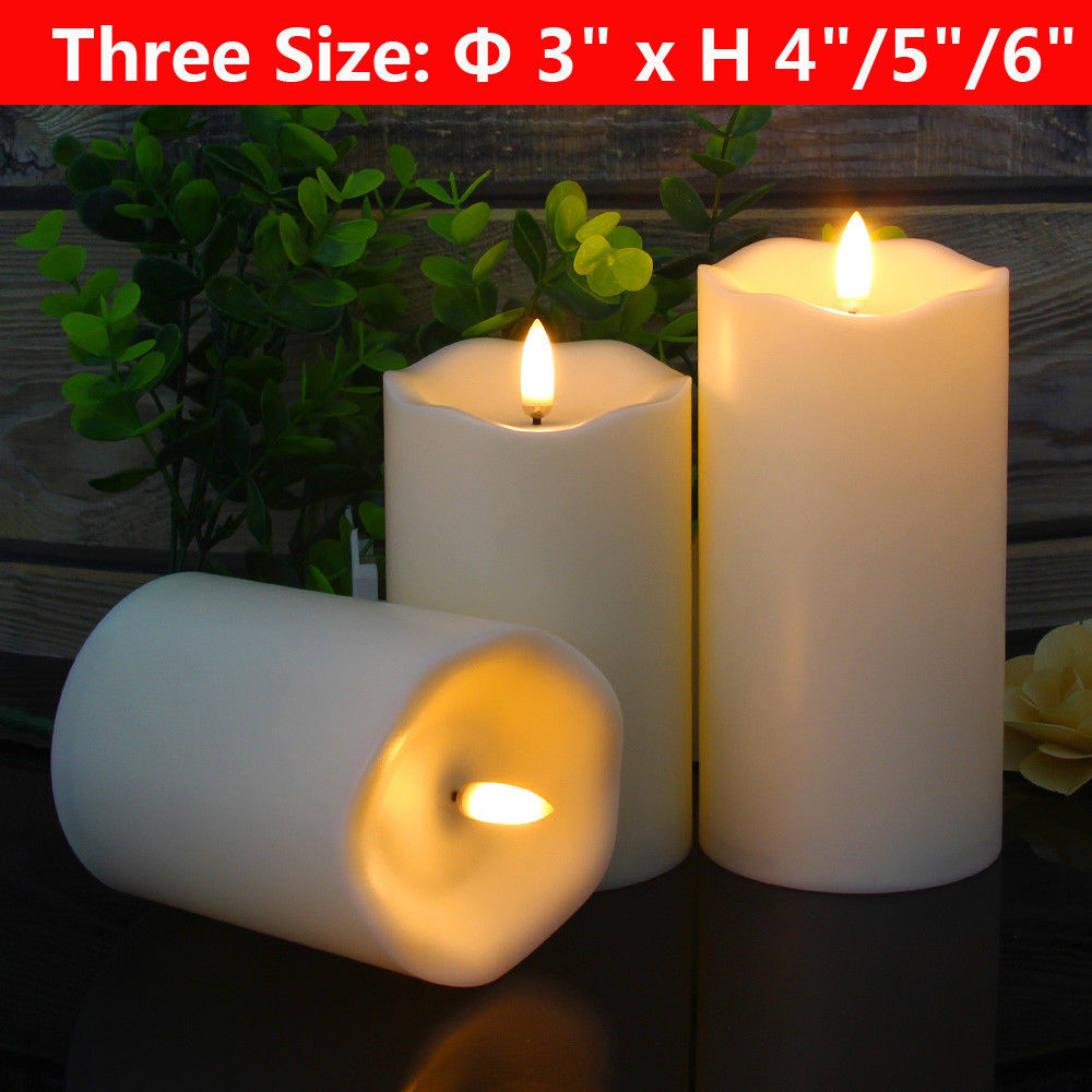 "Flameless Candles Led Battery Operated - with Remote Control Timer Flickering Flame White Pillar Candle Lights - Set of 3 Unscented 4"" 5"" 6"""