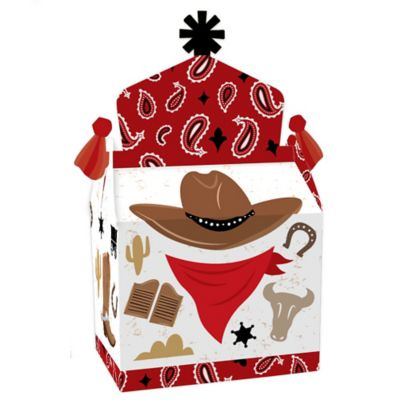 Western Hoedown - Treat Box Party Favors - Wild West Cowboy Party Goodie Gable Boxes - Set of 12 Favor Gable Boxes