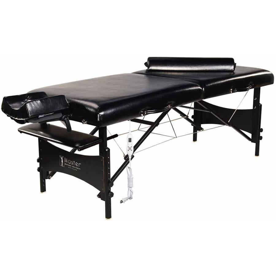 """Master Massage 30"""" Galaxy Therma-Top Portable Massage Table Package, Black, Adjustable Heated Top"""