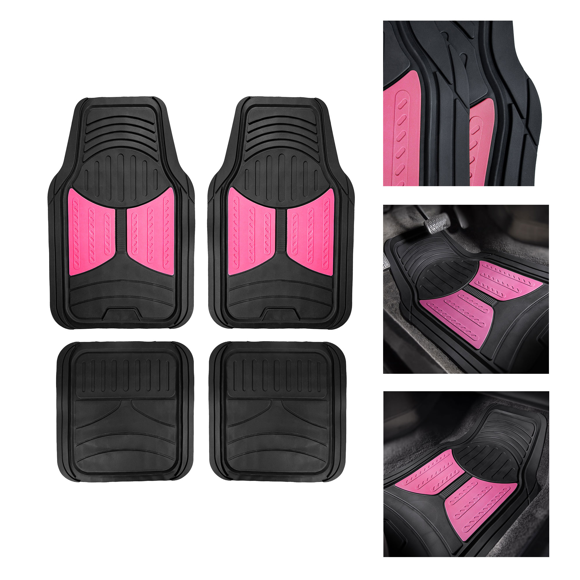 FH Group Heavy Duty Rubber Trim to Fit Monster Eye Floor Mats-4 Pieces, Pink