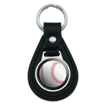 Baseball Ball Sport American National Black Black Leather Keychain (Ball Keychains)