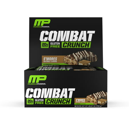 (MusclePharm Combat Crunch Protein Bar, S'mores, 20g Protein, 12 Ct)