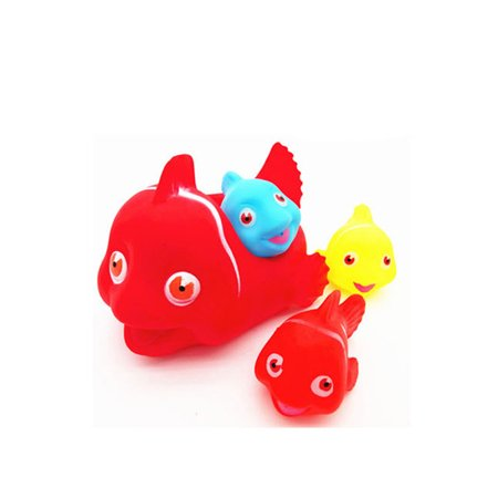 Qiyun Baby Kids Cute Animal Mummy and 3 Babies Squeaky Floating Bathtub Play Toy Set Random Color Big fish Red