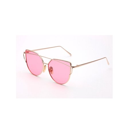 2018 Fashion Cat Eye Sunglasses for Women Rose Gold Mirror Eyewear Vintage Brand Designer Metal Reflective flat lens Sun Glasses