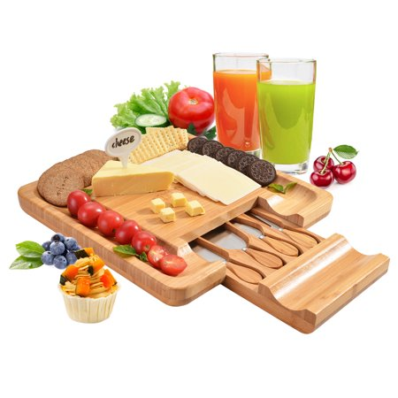 "Fitnate 13"" Bamboo Cheese Cutter Board Sets, Cheese Cutting Board w Slicer Hidden Drawer Perfect for Holiday Gatherings Cheese Party"