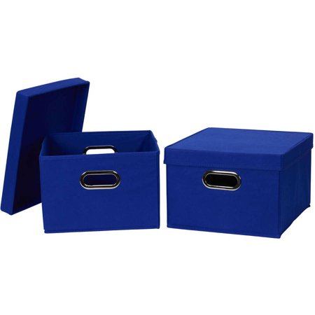 household essentials collapsible fabric storage box with lid 2 pack. Black Bedroom Furniture Sets. Home Design Ideas