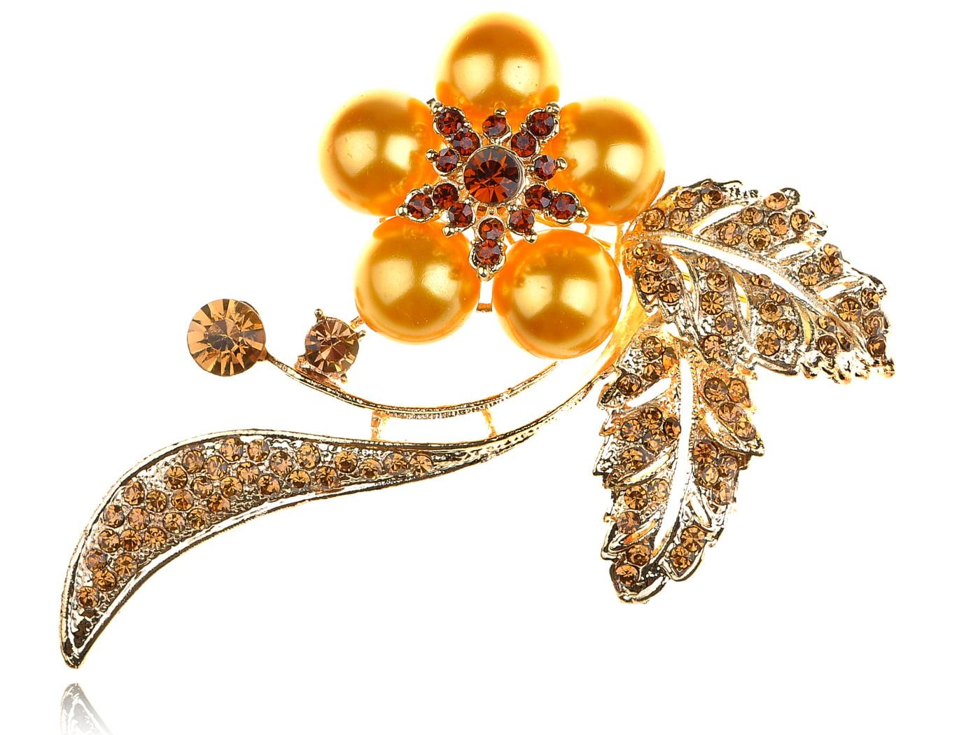 Elegant Smoked Topaz Crystal Rhinestone Orange Faux Pearl Flower Pin Brooch by