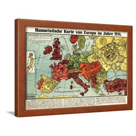 Karte Von Europa 1914.Satirical Map Humoristische Karte Von Europa Im Jahre 1914 Framed