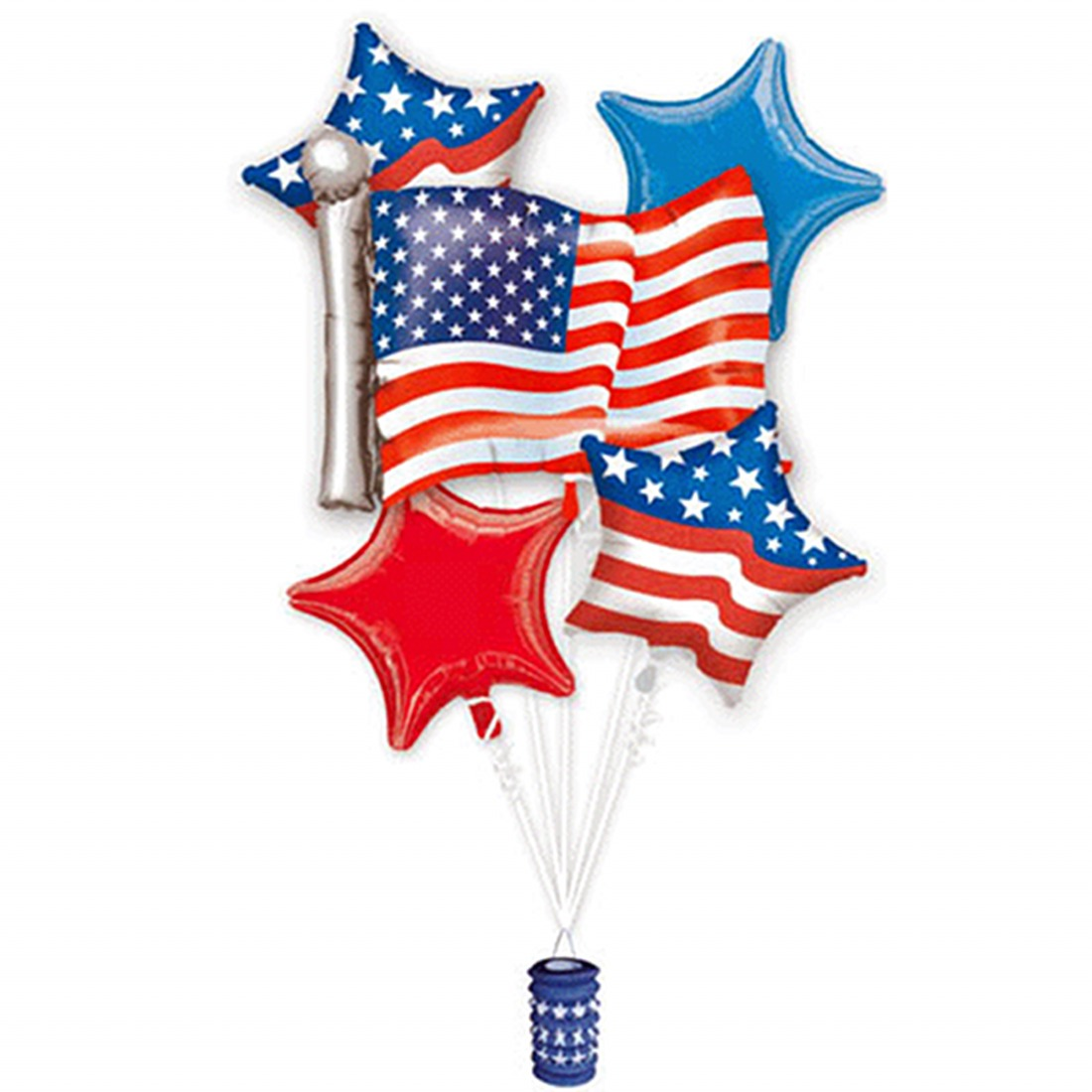 Anagram Patriotic 4th of July Bouquet 7pc Balloon Pack, Red White Blue