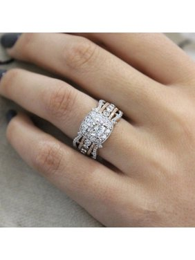 AkoaDa Lovely Exquisite Women`S Rings 14K Rose Gold Square Diamond Princess Engagement Party Wedding Rings Size 6 7 8 9 10