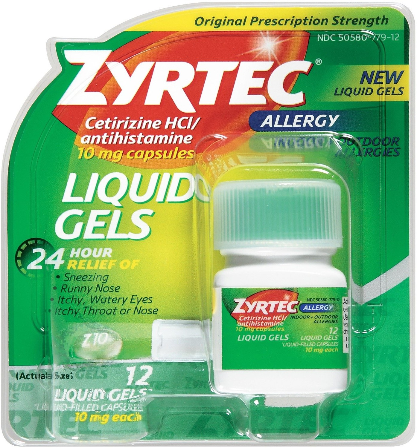 Zyrtec Allergy 10 mg Liquid Gels 12 ea (Pack of 6)