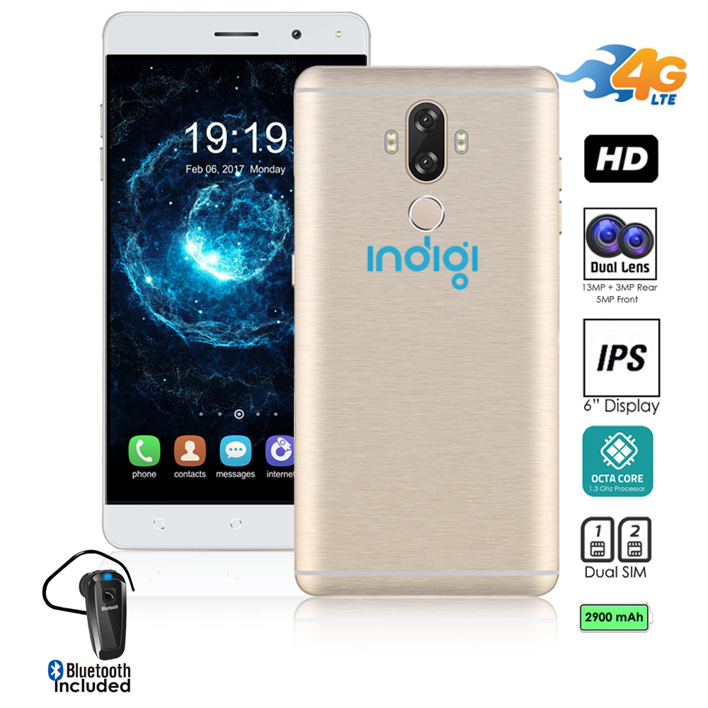 "Indigi® Unlocked 4G LTE 6"" Android 7 SmartPhone 8Core @ 1.3GHz (13MP CAM + Fingerprint Scan + 2SIM + Bluetooth Headset"