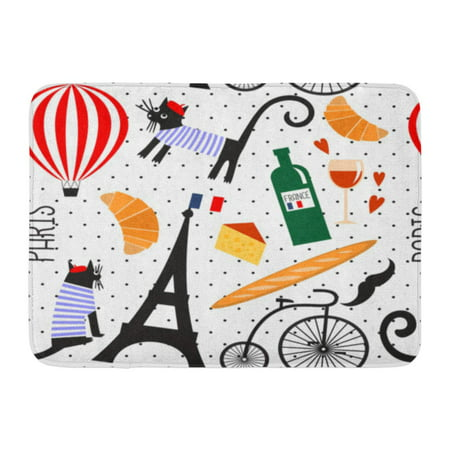 GODPOK French Culture Symbols on Polka Dots Funny Paris Wine Eiffel Tower Baguette Retro Bicycle Mustache Cheese Rug Doormat Bath Mat 23.6x15.7