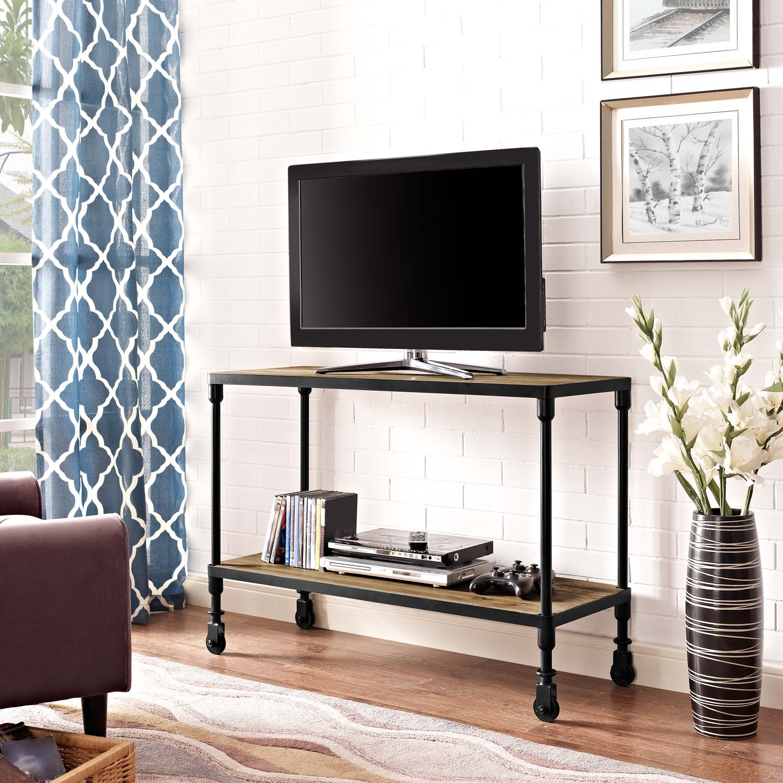 Modway Raise Modern Rustic Pine Wood TV Stand in Brown