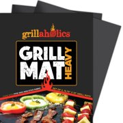 Grillaholics Grill Mat Heavy - Set of 2 Nonstick BBQ Grilling Accessories for Gas, Charcoal, Electric Grills