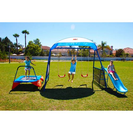 shaded metal walmart swing set with trampoline fitness for kids