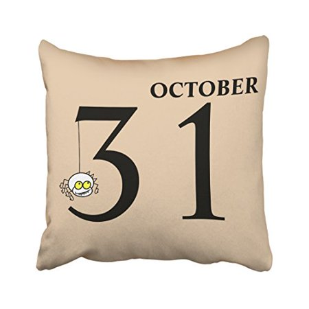 WinHome Fun Happy Halloween October 31st Throw Pillow Covers Cushion Cover Case 18x18 Inches Pillowcases Two Side