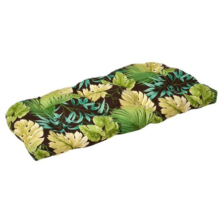 Outdoor Patio Furniture Wicker Loveseat Cushion - Green Tropical