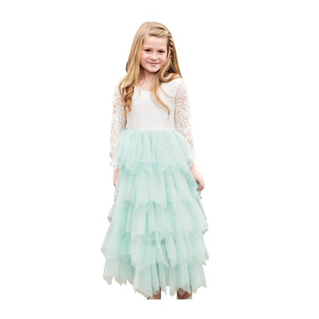 d06582027 Little Girls Mint Floral Bodice Tired Skirt Long Sleeve Flower Girl Dress -  Walmart.com