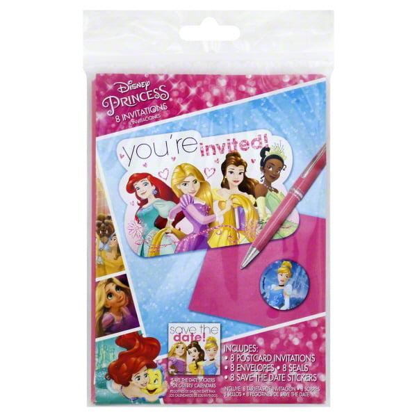 Disney's Princesses Ariel, Rapunzel, Belle, and Tiana Invitations, 8 Count