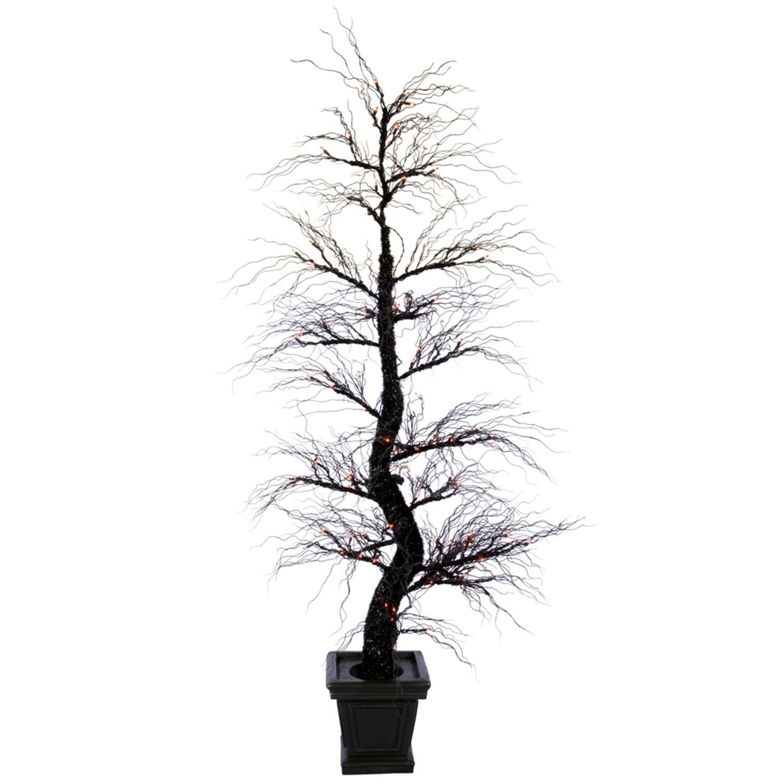 7.5' Pre-Lit Black Spider Artificial Tree - Orange Dura Lights