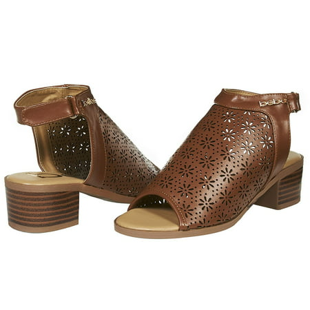 bebe Girls Big Kid Laser Cut Perforated Open Toe Wedge Heel Fashion Sandals With Ankle Strap 2 Cognac](Children Heels)