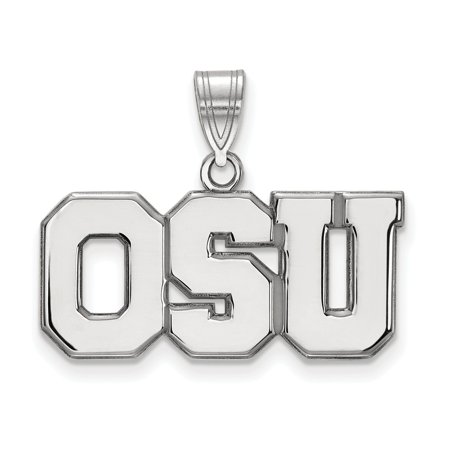 14K White Gold Charm Pendant Ohio NCAA State University 19 mm 26