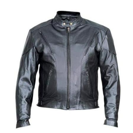 44 Pocket - Men'S 44 Size Analine Cowhide Leather 2 front zippered pockets full sleeve Biker Jacket With Antique Brass Hardware
