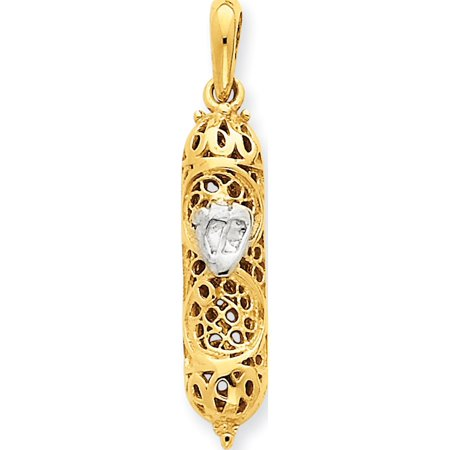 Leslies Fine Jewelry Designer 14k Two-Tone Gold Mezuzah w/Shin (7x35mm) Pendant Gift