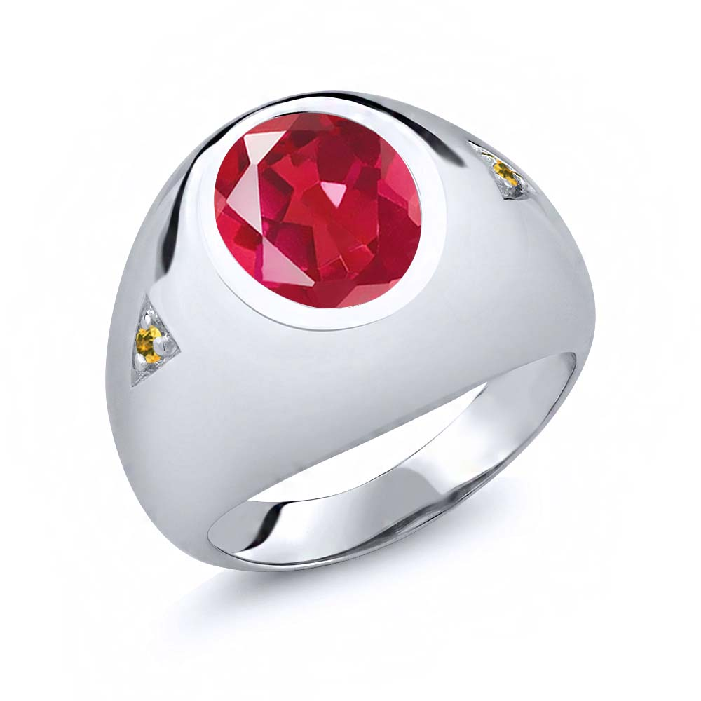 4.07 Ct Pink Mystic Quartz Yellow Simulated Citrine 18K White Gold Men's Ring by