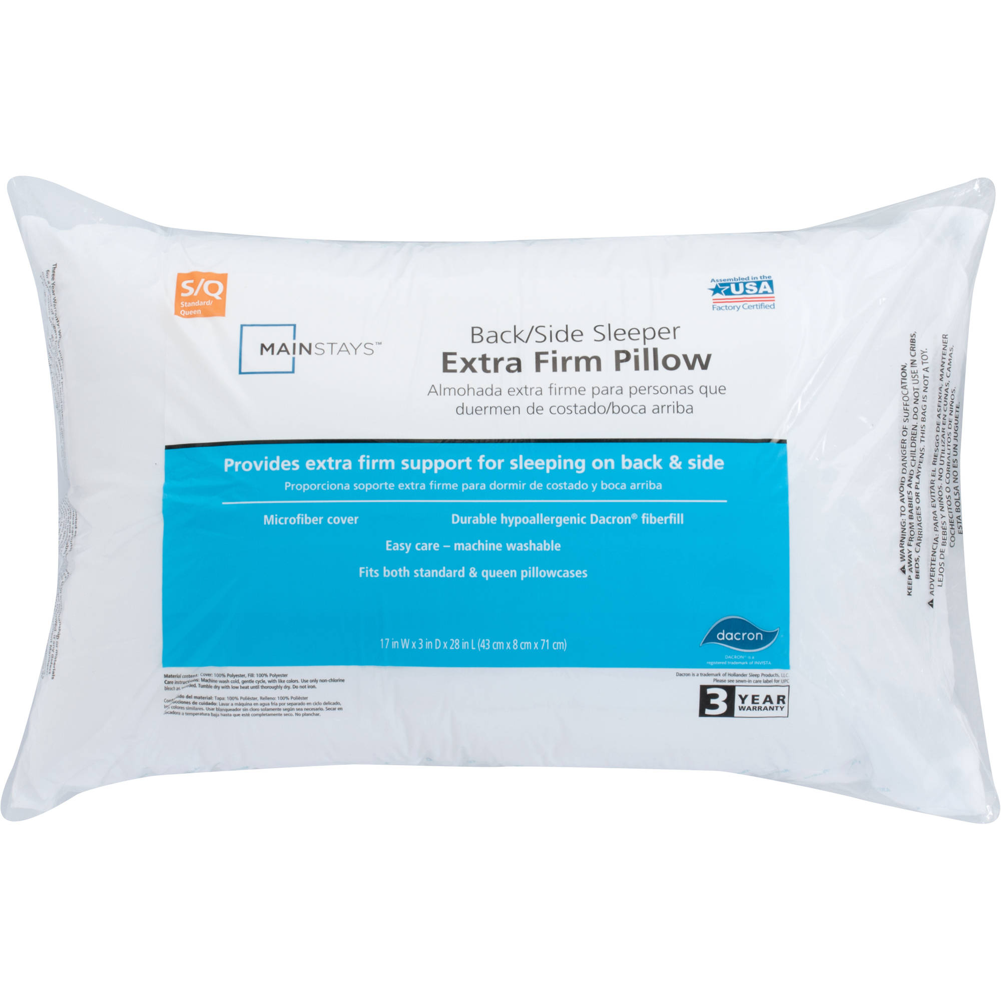 Mainstays 100% Polyester Extra Firm Support Pillow in Multiple Sizes