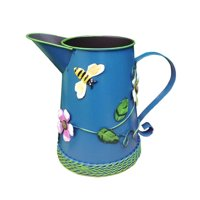 Handmade Iron Watering Can Vase Pitcher Holder with Raised Flowers Ladybug Butterfly Dragonfly Ladybug, 4 colors available, Steel Blue