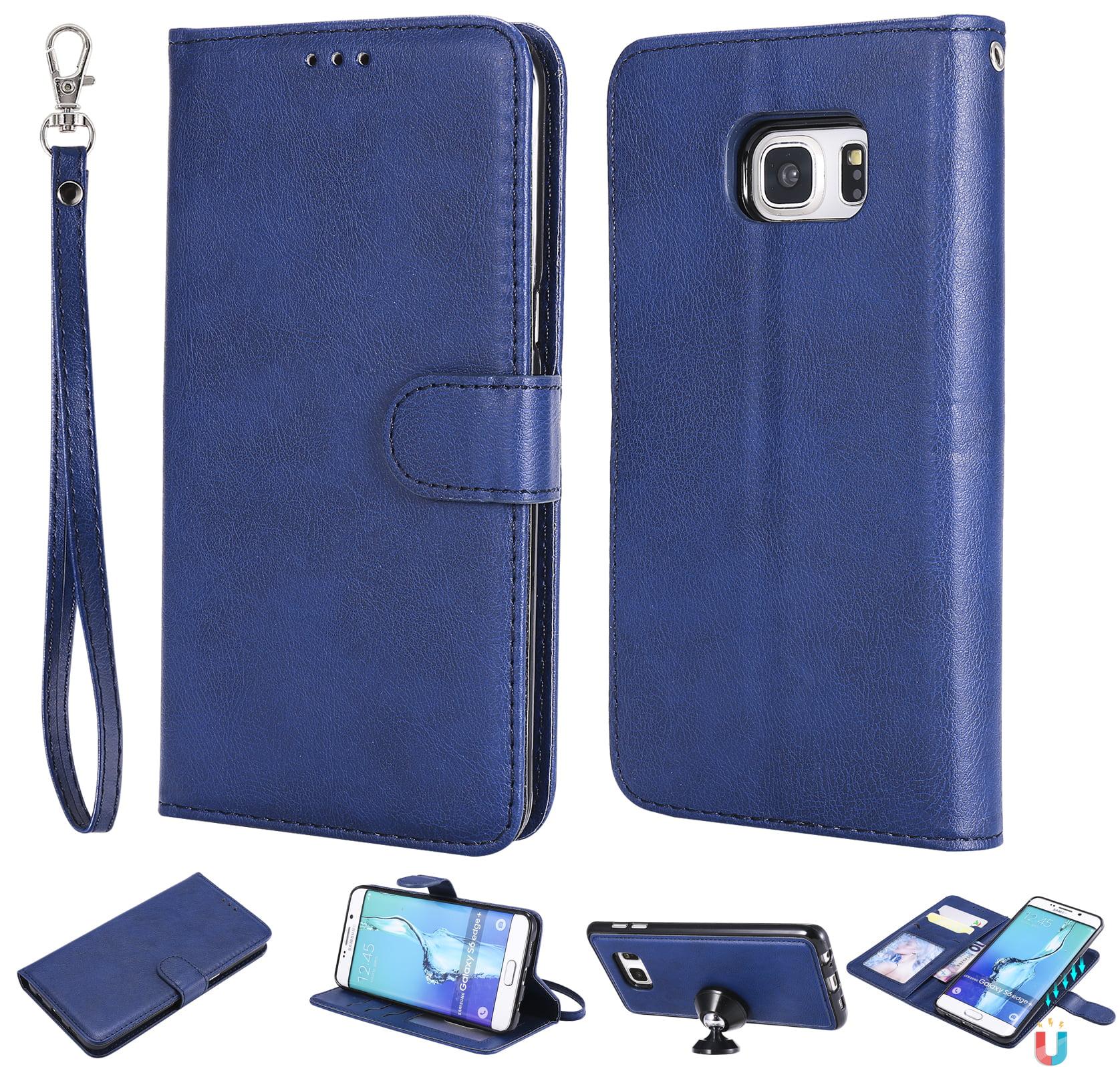 Galaxy S6 Edge Plus Case Wallet, S6 Edge Plus Case, Allytech Premium Leather Flip Case Cover & Card Slots Pocket, Wrist Design Detachable Slim Case for Samsung Galaxy S6 Edge Plus (Blue)