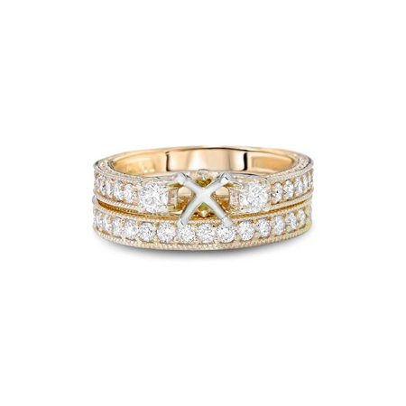 7/8ct Vintage Engagement Ring Mount Set 14K Yellow Gold - image 2 de 3