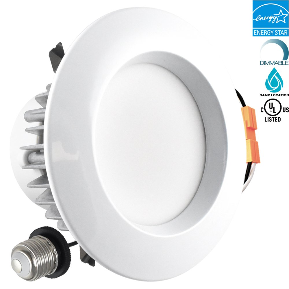 Luxrite 4 Inch Retrofit LED Recessed Lighting Fixture, 9W (60W Equivalent), 3000K Soft White, ENERGY STAR, 684 Lumens, Dimmable LED Downlight, UL Listed, Damp Rated, 1-Piece