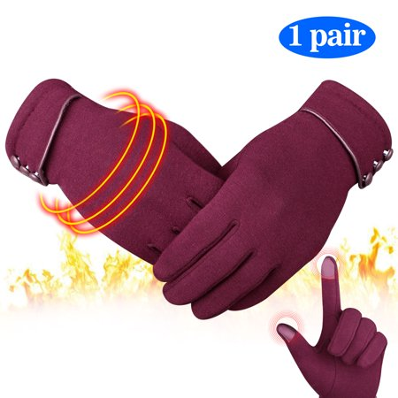 Women Winter Warm Gloves, EEEkit Thumb and Forefinger Touch Screen, Cozy Fleeced Liner, Windproof Waterproof Snowproof fit for Skiing, Camping, Climbing, Riding, Driving and other Winter Activities