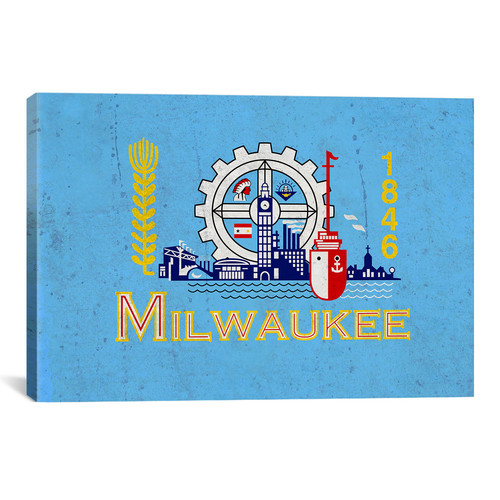 iCanvas Milwaukee Flag, Grunge Graphic Art on Canvas