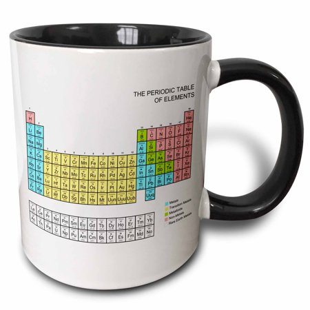 3dRose Pastel Periodic Table - Academic school educational gift for science chemistry physics classrooms - Two Tone Black Mug, 11-ounce - Halloween Gifts For Classroom
