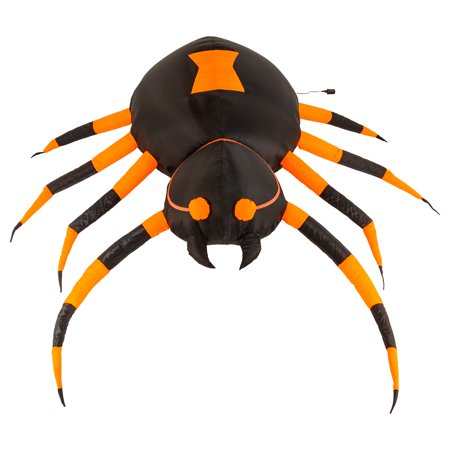Halloween Haunters 6 Foot Inflatable Scary Black Widow Spider with LED Lights Indoor Outdoor Yard Lawn Prop Decoration - Scary Halloween Stories With Props
