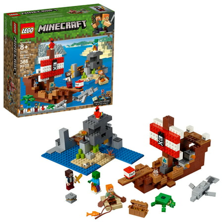 LEGO Minecraft The Pirate Ship Adventure 21152 Pirate Ship Boat Shark Treasure Chest Building Toy Kit (386 Pieces)