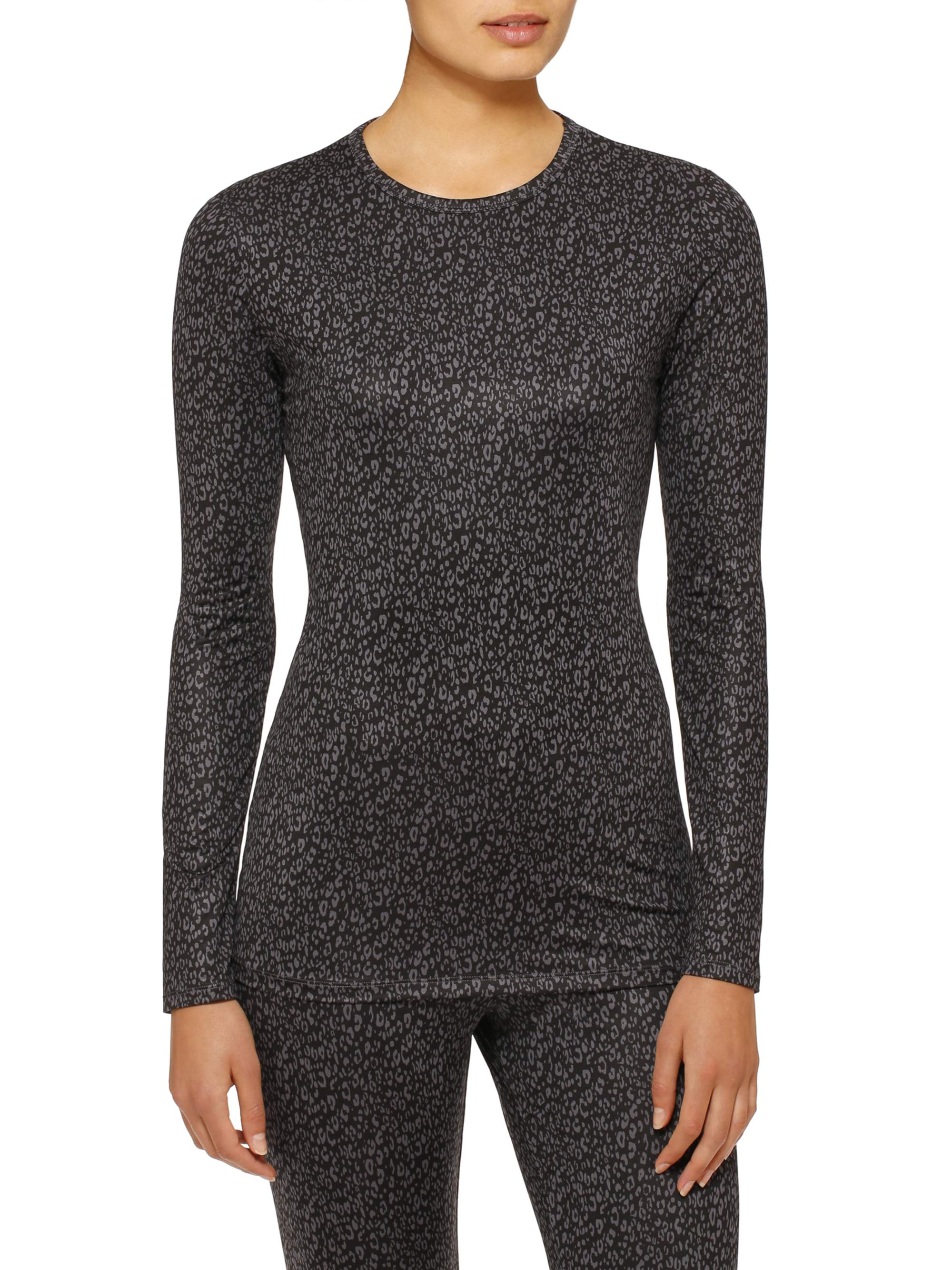 L - Black Cuddl Duds ClimateRight Womens Stretch Fleece Warm Underwear Long Sleeve Top