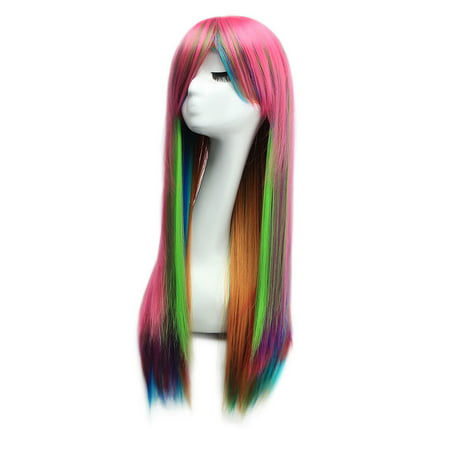 Dazone Halloween Wigs Long Straight Cosplay Costume Hair Multi-Color - Halloween Bald Caps With Hair