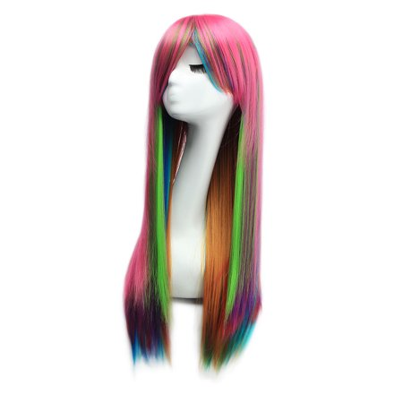 Dazone Halloween Wigs Long Straight Cosplay Costume Hair Multi-Color - Black Long Hair Wigs Halloween