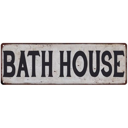 BATH HOUSE Vintage Look Rustic Metal Sign Chic Retro - Bath House Sign