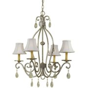 AF Lighting Morgan 4 x 60-Watt Light Candle Base Chandelier, Antique Metal with Antique Crystals