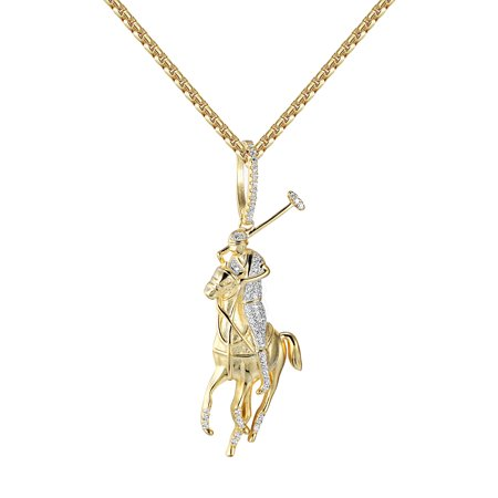Polo Jockey Horse Pendant Necklace Sterling Silver 14k Gold Finish Lab Created Cubic Zirconias New