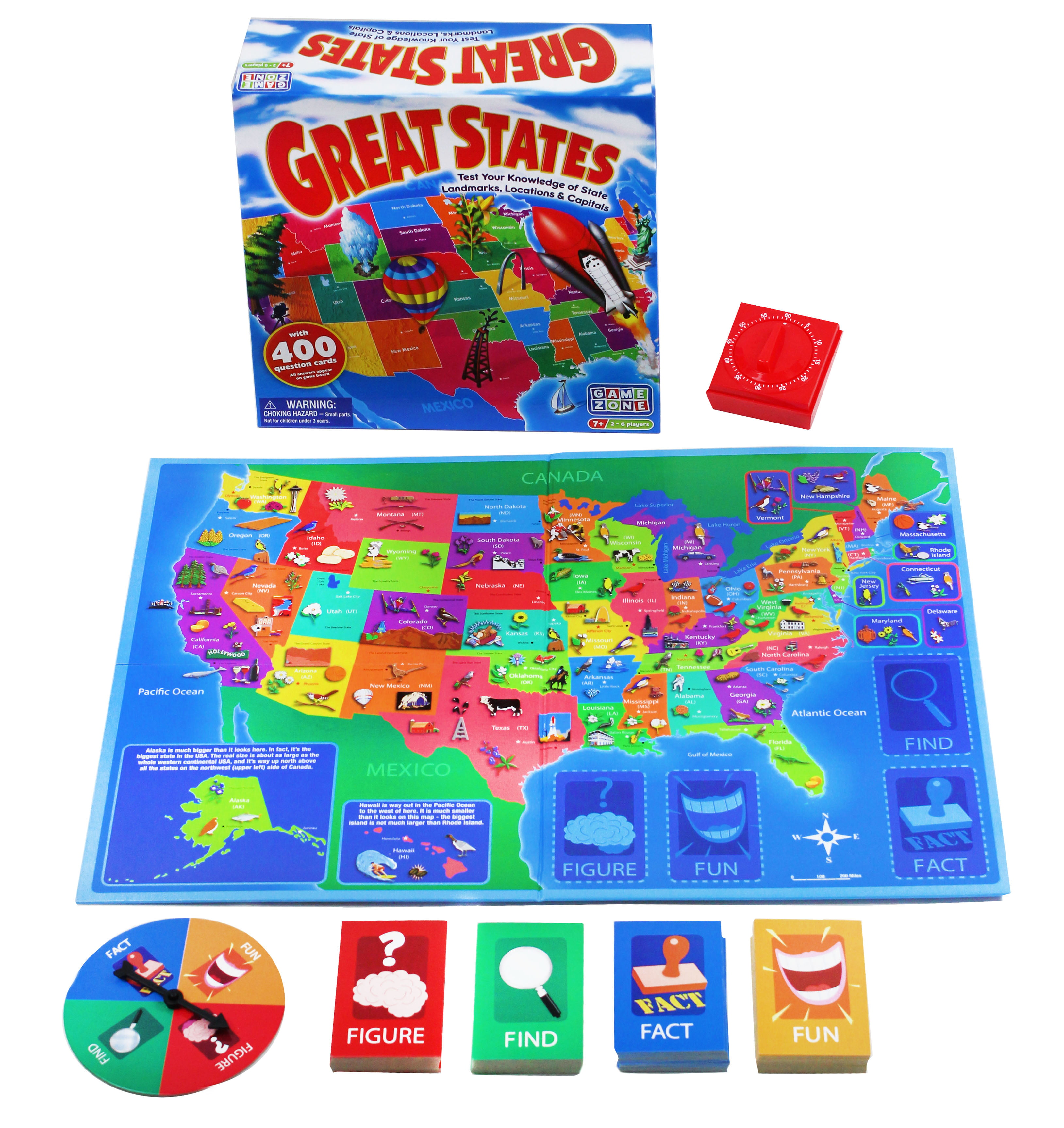 Game Zone Great States Geography Board Game by International Playthings